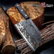 سكين الطاهي اليدوية مزورة عالية الكربون يرتدون الصلب الصينية الساطور المهنية المطبخ اللحوم الخضروات تقطيع تقطيع الطبخ