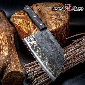 Image 1 - سكين الطاهي اليدوية مزورة عالية الكربون يرتدون الصلب الصينية الساطور المهنية المطبخ اللحوم الخضروات تقطيع تقطيع الطبخ