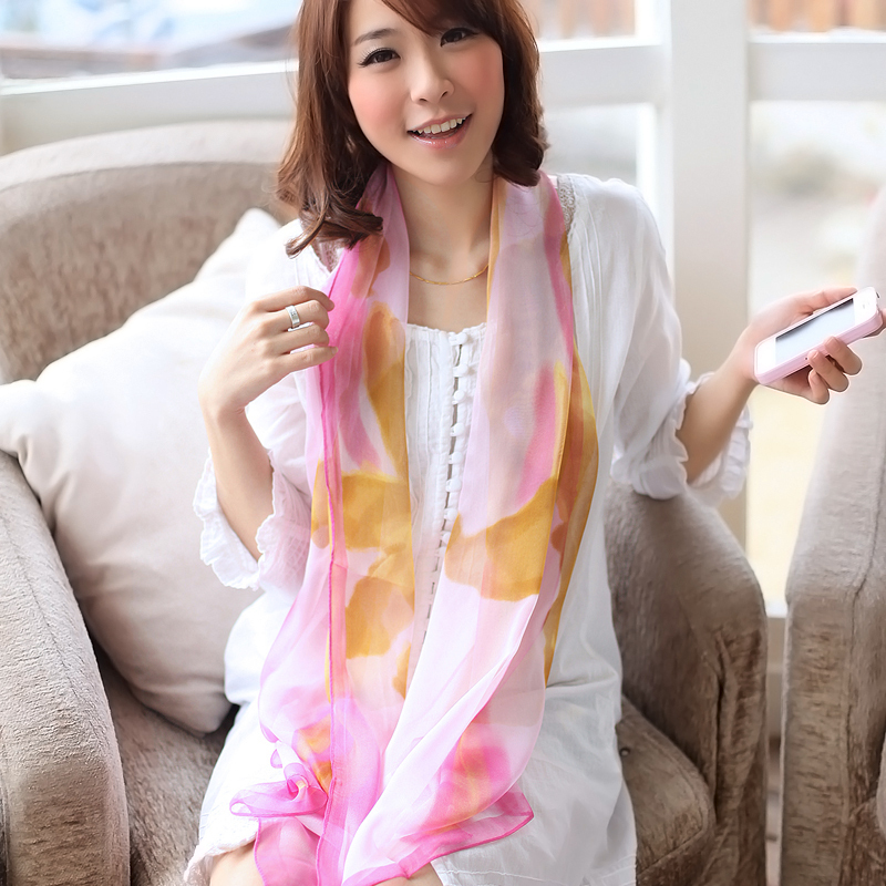 2013 spring and summer ultra long georgette chiffon silk scarf silky color block decoration