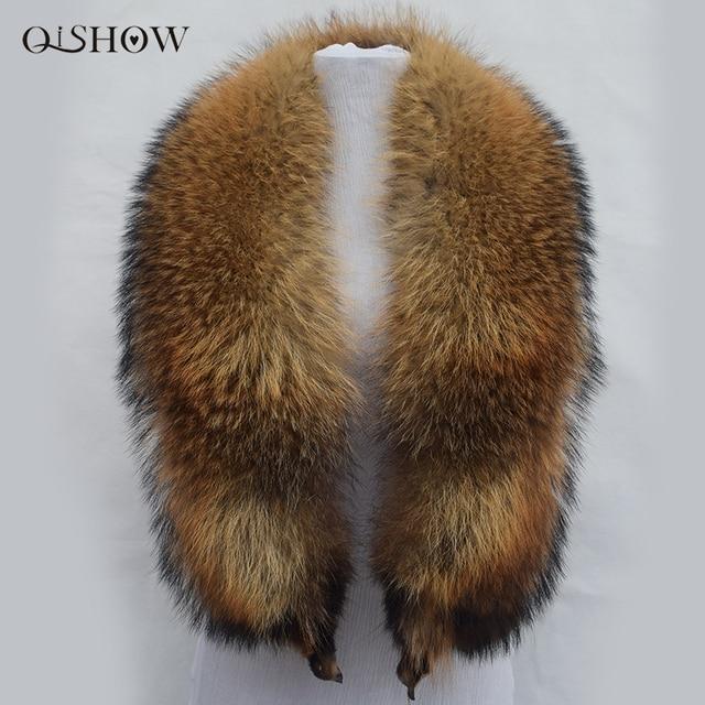 100% Natural Raccoon Fur Collar 130cm Long Brand Real Fur Ring Scarf Women Genuine Raccoon Fur Collars for Down Jacket Female