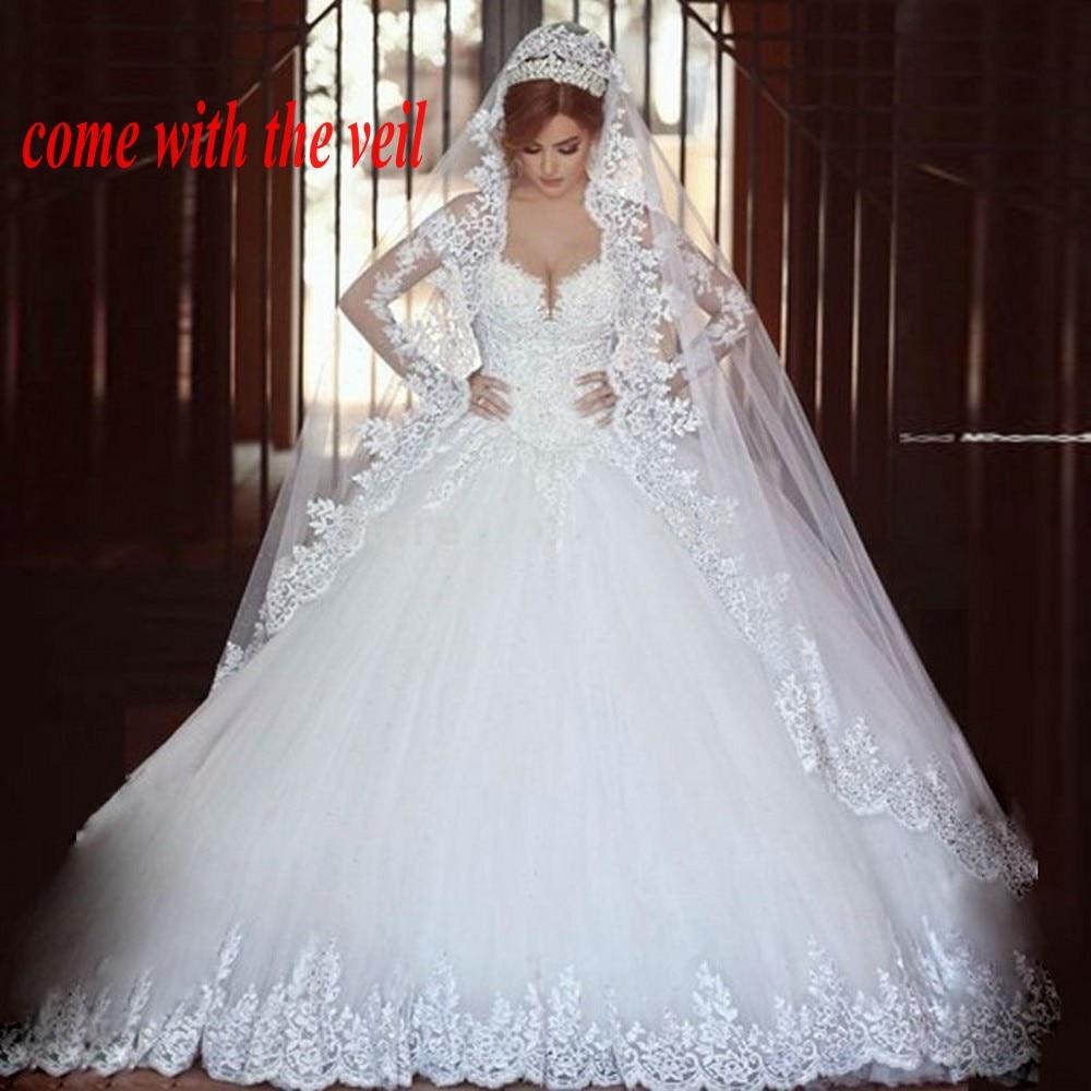 Long Sleeves Appliques Arab Wedding Dresses Muslim Bridal Gowns vestido de noiva princesa Bride Dress with Veil trouwjurk in Wedding Dresses from Weddings Events