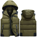 2016 New Autumn and Winter Men's Top Cotton Down Vest Thickening and Warm Detachable Zipper Vest with a Hood