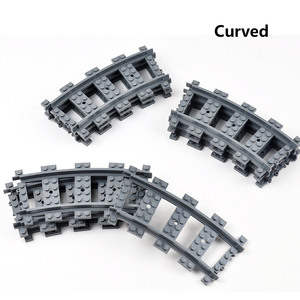 Image 3 - City Train Tracks Train Rail Straight & Curved Tracks Sets Building Blocks Bricks Parts Kids Diy Construction Toys Model