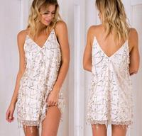 Sexy White Color Spaghetti Strap Sequins Tassel Backless Halter Party Dress Female Sleeveless Loose Casual Holiday Beach Dress