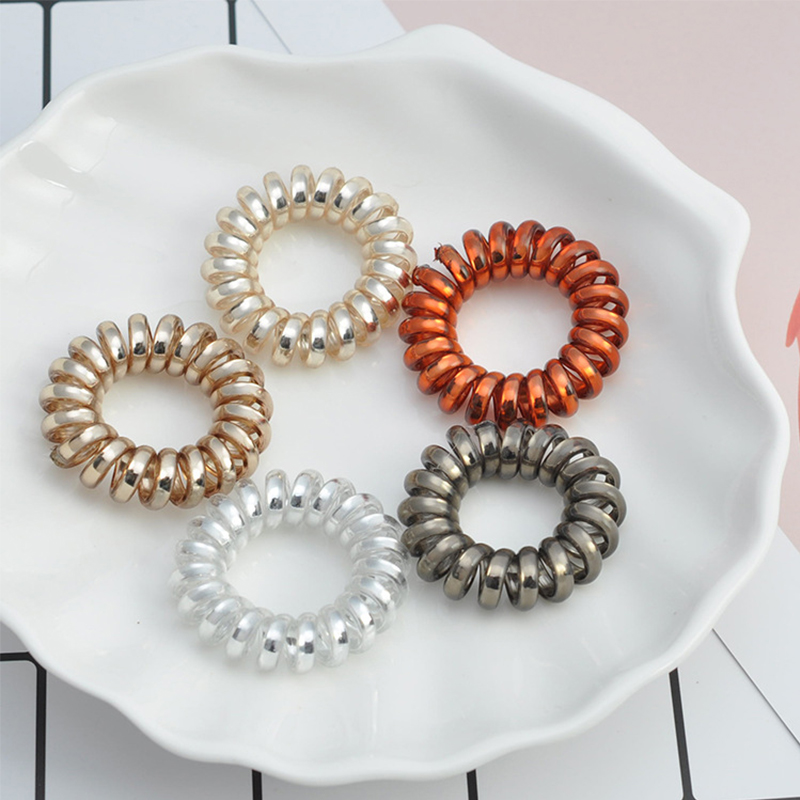 Elastic Hair Bands Spiral Shape Ponytail Hair Ties Gum Rubber Band Hair Rope Telephone Wire Hair Accessories for girlsElastic Hair Bands Spiral Shape Ponytail Hair Ties Gum Rubber Band Hair Rope Telephone Wire Hair Accessories for girls