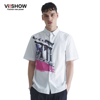 Viishow Brand Clothing Men Dress Shirts Fashion Camisa Masculina Short Sleeve Blouse Men Summer Printed Fashion
