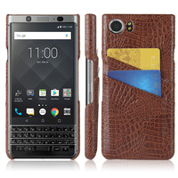 Snap On Ultra Slim Crocodile PU Leather Hard Protection Cover Case Card Slot Holder For BlackBerry