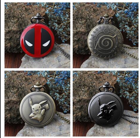 Deadpool Animation Cartoon Ninja Pikveryu Animation Cartoon Quartz Necklace Pocket Watches Gift KJH251