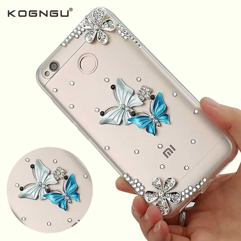 Kogngu High Quality Smart Phone Tpu Soft Bumper for Xiaomi Redmi 4x Case Diamond Bling for Xiaomi Redmi 4x Phone Cover Hard Back
