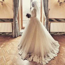 Luxury Jewel Lace Long Sleeves Muslim Hijab Wedding Dress 2017 lace up back lace applique Bridal Gowns