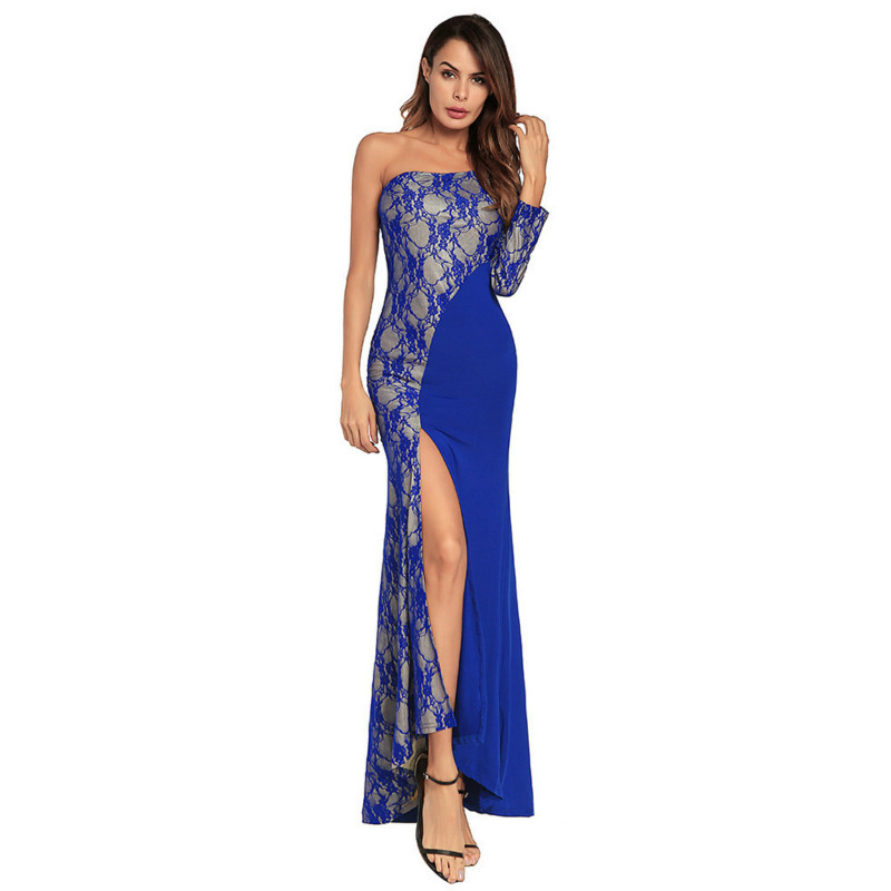 Dress 2018 The Explosion European Sexy Lace Split Joint Longuette Europe Station Full party women Dress High-end New Pattern