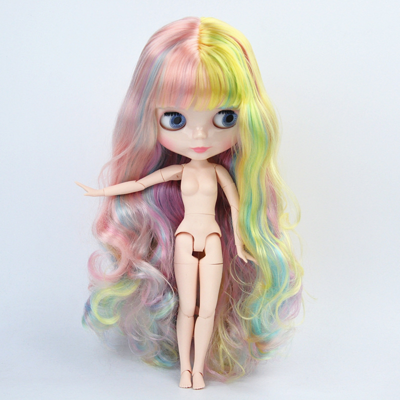 Blyth Doll Colorful Hair Curly hair Customized Body DIY Nude BJD toys Can Change Makeup Fashion Dolls 19 Jointed toy for Girl new nude doll grey curly hair centre parting blyth dolls joint body diy nude bjd toys fashion dolls 19 joints toy for girl