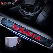 日産ナバラ 4 プレート側ドア敷居ガード車のステッカー 4D炭素繊維インテリアカーアクセサリー 4 個セットあたり