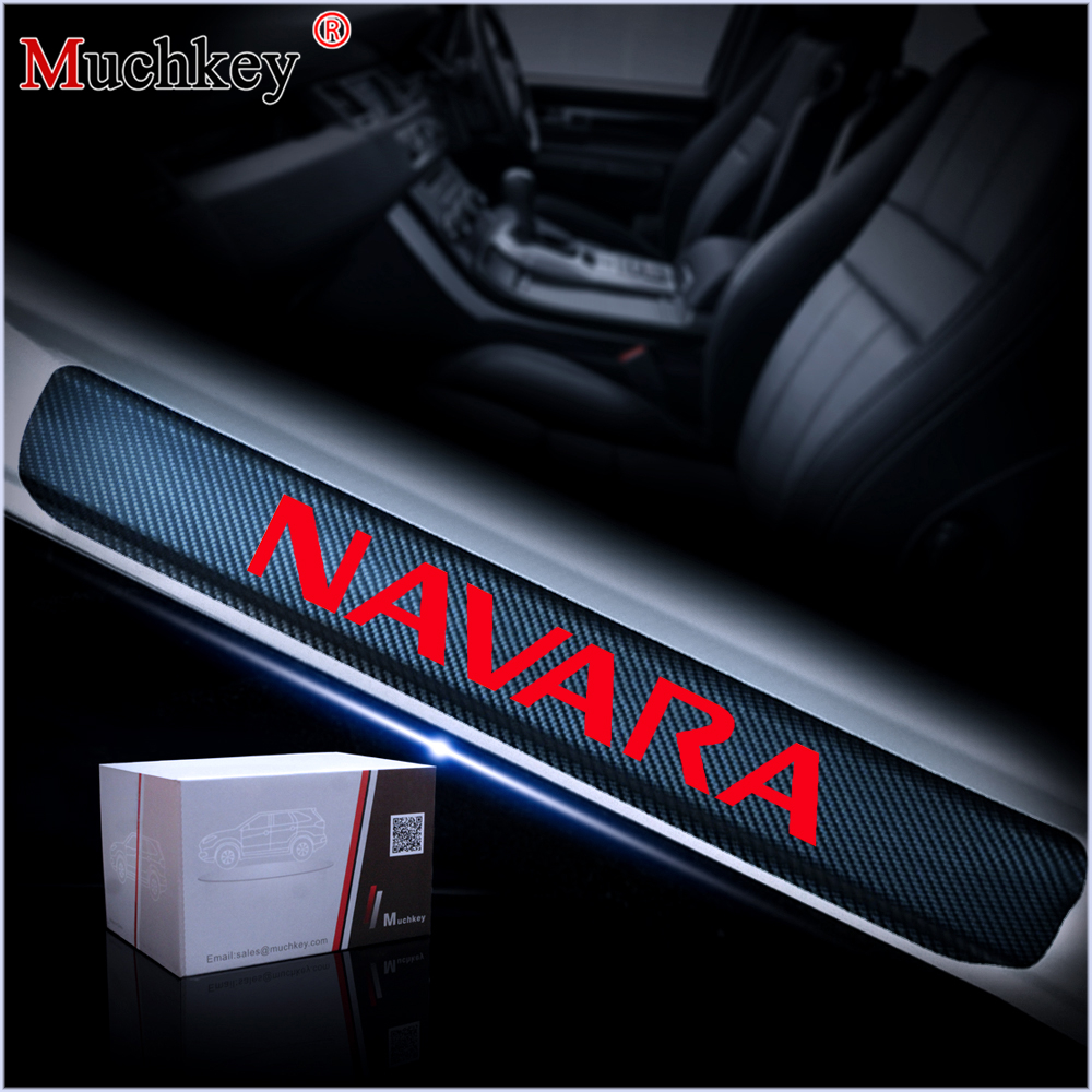Car Door Sill Scuff Plate Guard Sills Protector Trim Carbon Fiber Stickers+White High Intensity Reflective Tape For 2017 Toyota Prius Prime 4pcs