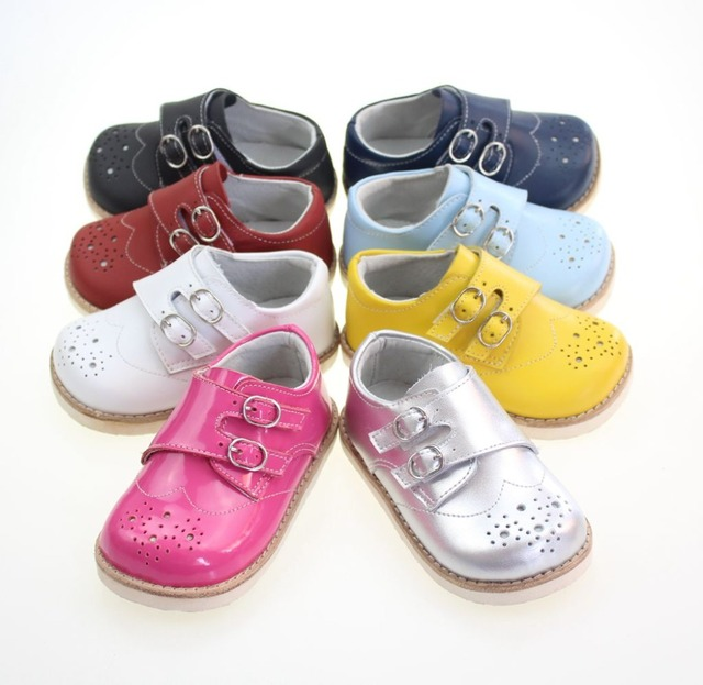 Girls leather shoes children flowers white black pink dress shoes kids princess students school shoes size
