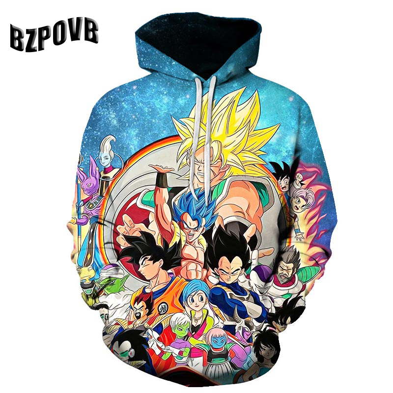 Best Selling New Fashion Dragon Ball 3D Printing Hooded Sweater Men's And Women's Turban Sweatshirt Hip Hop Pullover Pocket