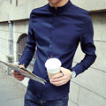 Spring Autumn Casual Men Cotton Shirt Long Sleeve Solid Stand Collar Leisure Shirts Men Clothing Slim Chinses Style Tunic Suit