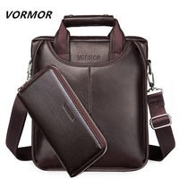 VORMOR Fashion Men Tote Casual Briefcase Business Shoulder Black Leather High Quality Messenger Bags Laptop Handbag Men's Bag