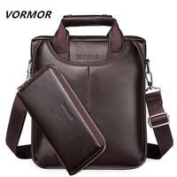 VORMOR Fashion Men Tote Casual Briefcase Business Shoulder Black Leather High Quality Messenger Bags Laptop Handbag