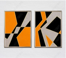 Modern Style Orange Geometric Lines Canvas Paintings Modular Pictures Wall Art for Living Room Decoration No Framed