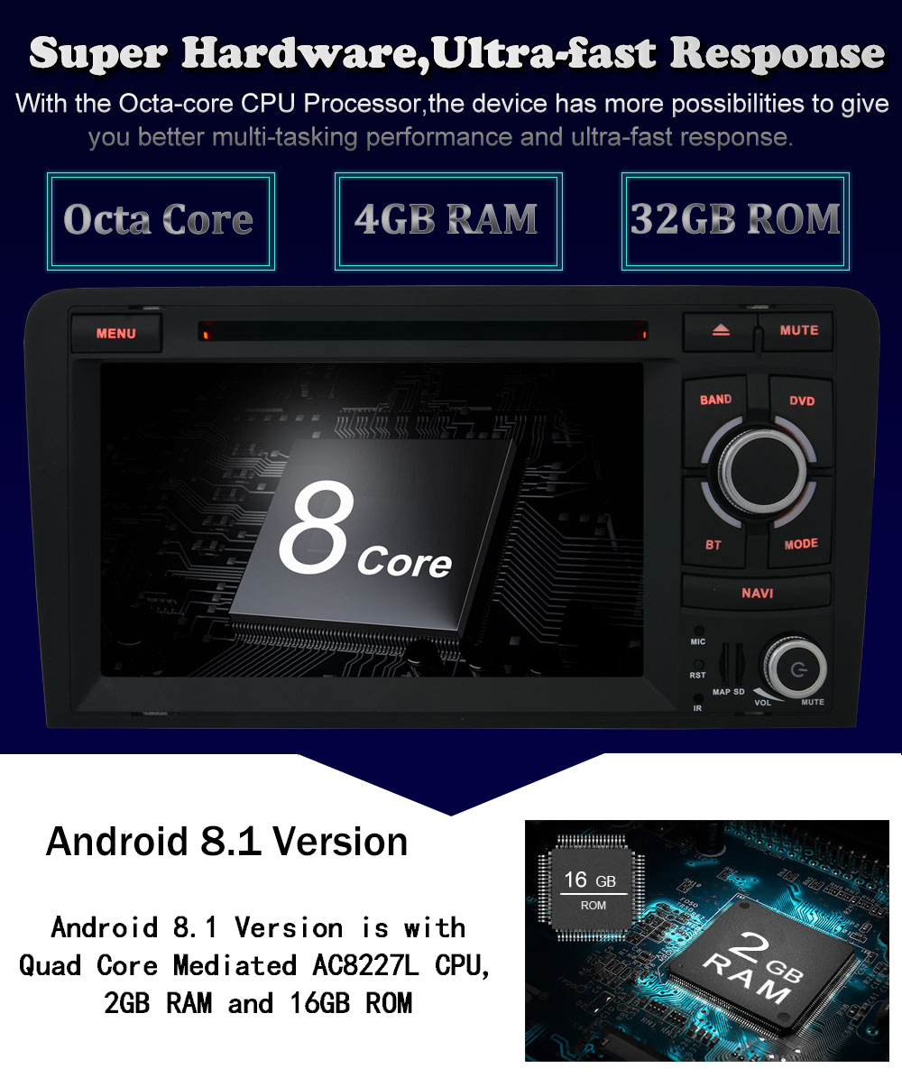 IPS Android 8 1 Octa Core 4GB RAM+32GB Car DVD GPS Navigation Radio