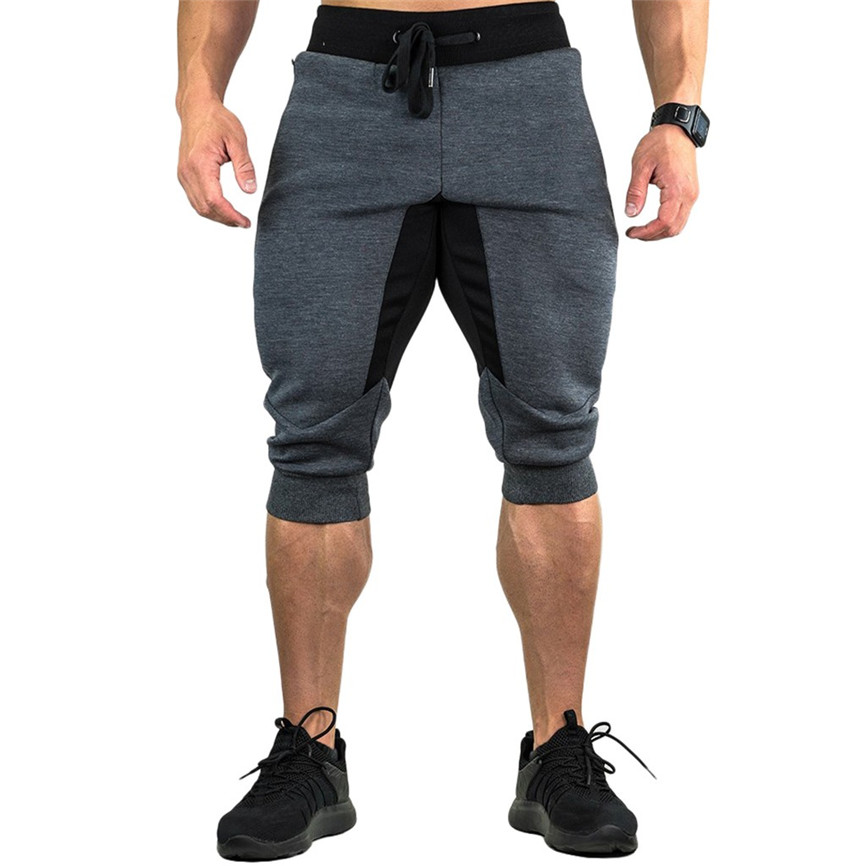 Men's   Shorts   Fitness Running Pants Mens Casual Summer Joggers Solid Pocket Drawstring Zipper 3/4 Pants Trouser Sweatpants