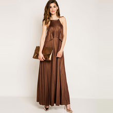 Young17 Summer Dress Women Pleated Long Party Sexy Sleeveless Ankle-Length Spaghetti Strap Coffee Party Dress Female Maxi Dress