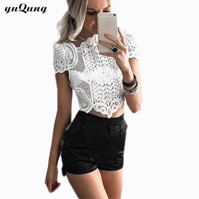 bad5a47a24c13 Sexy Lace Crop Top short sleeve shirt blouse White Crochet Top Hollow party Tank  Floral Beach camis Womens Bustier bra Camisole