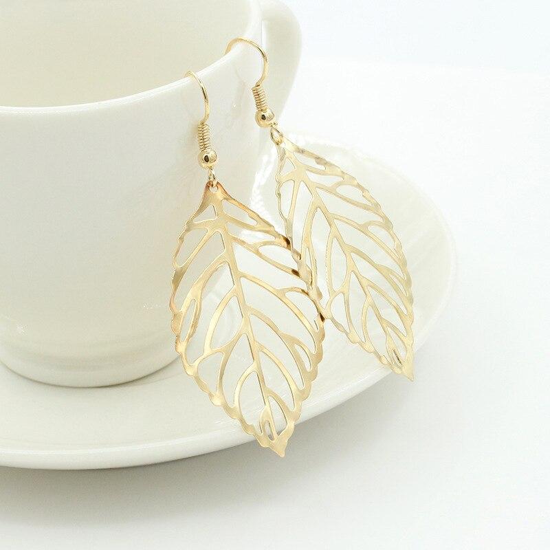 220447a19c Korean fashion earrings wholesale jewelry long earrings female earrings  simple Sen Department of metal leaves earrings