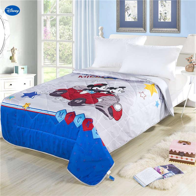 3D bleu Disney Mickey Mouse Drive voiture courtepointes été coton tissu couette literie bébés garçons enfants lit couverture couverture Cartoon