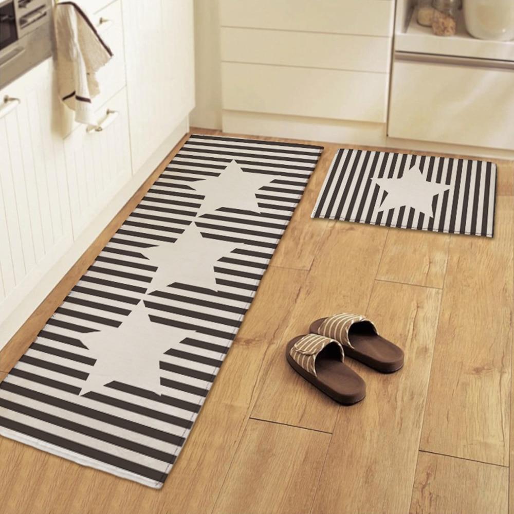 Floor mats super cheap - Yazi Chic Black And White Stripe Star Kitchen Floor Mat Rug Plush Anti Slip Bedroom Bath