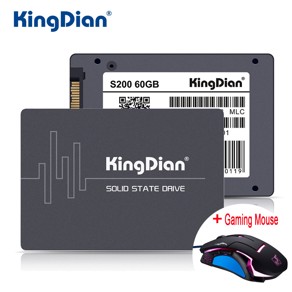 цена KingDian SSD 60GB S200 3 Years Warranty SATA3 2.5 inch Hard Drive Disk 60GB HD HDD Factory Directly +Usb Backlight Gaming Mouse
