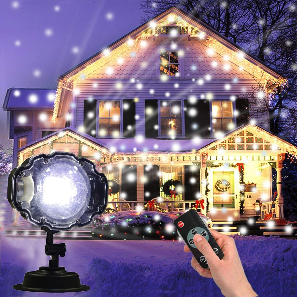 цена Thrisdar Mini Christmas Snowflake Laser Projector Lamp Outdoor Moving Snow Projector Light Garden Xmas Snowfall LED Spotlight онлайн в 2017 году