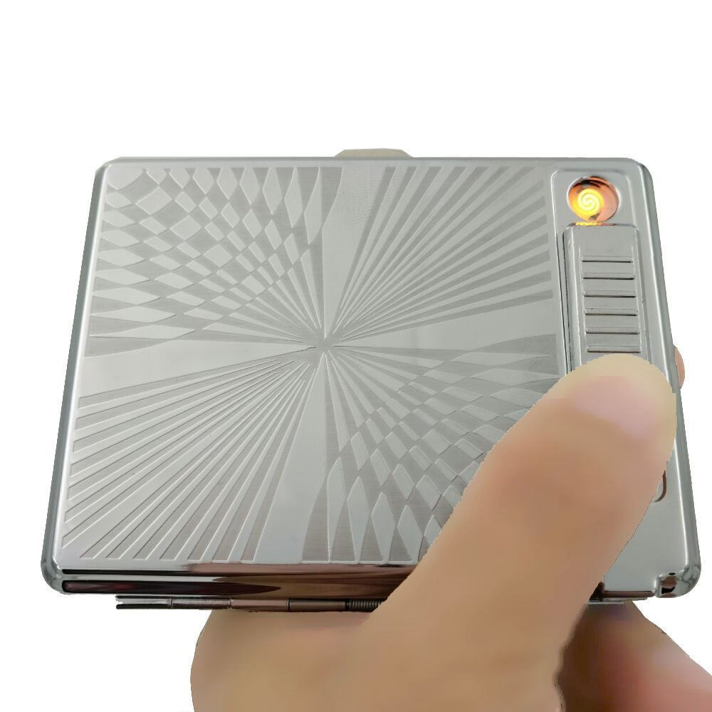 Metal Cigarette Case Box Holder with USB charging cigarette lighter Usb Lighter Electronic Gadgets wholesale