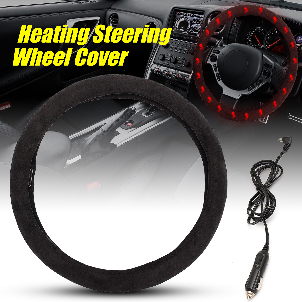 12V 38cm Heated Universal Car Steering-wheel Cover 38CM Car-styling Sport Auto Wheel Covers Anti-Slip Automotive Accessories
