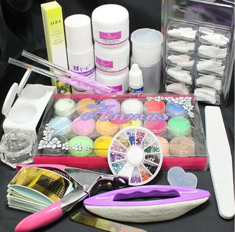 Pro Full Pro Nail Art Tips Kit DIY Acrylic Nail Liquid Powder Nail ...