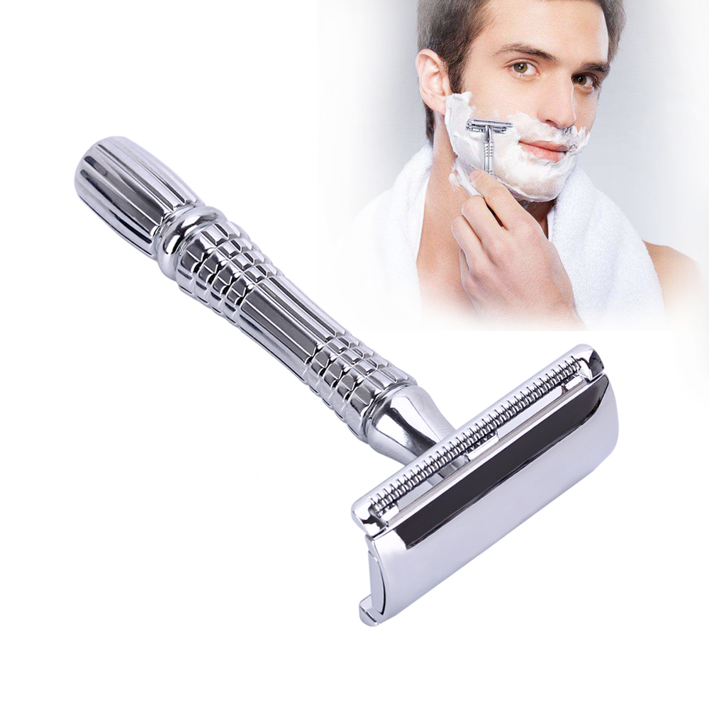 1 Razor+1 Blade Double-sided Shaver for Men Manual Classic Safety Shaving Razor Set For Men Double Edge Stainless Shaver Sliver razors for shaving men double edge razor bright brass blade replaceable chrome manual classic safety razor