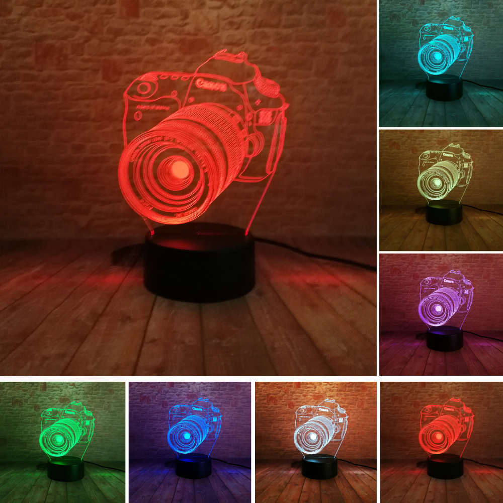 New 3D Camera Touch Remote LED 7 Color Change Night Light Illusion Child Kids Living/Cedroom Table/Desk Lamp Xmas Birthday Gift