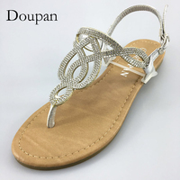 Doupan 2018 New Women Summer Sandals Attractive Fashion Silver Shoes For Women String Bead Flip Flops