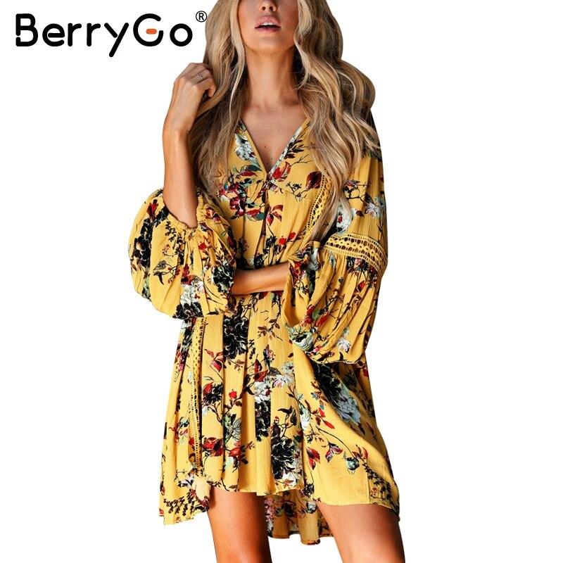 Berrygo auszuhöhlen boho sommer dress frauen vintage lose spitze laterne kurzarm dress rüschen blumendruck sexy dress vestidos