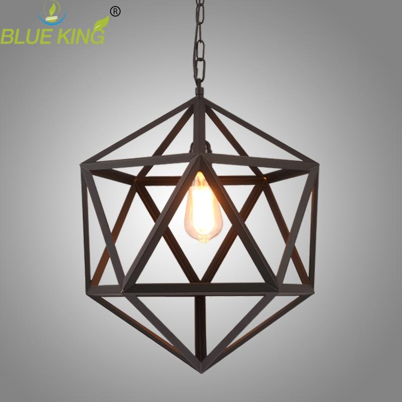 цена  Retro industrial American country style wrought iron chandelier creative personality polyhedral diamond chandelier dia. 32cm  онлайн в 2017 году