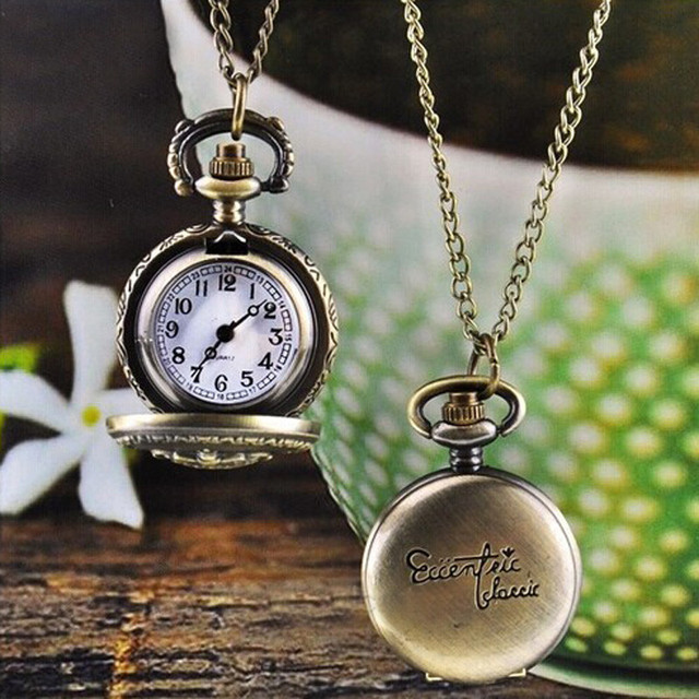 #5005Hot Fashion Vintage Retro Bronze Quartz Pocket Watch Pendant Chain Necklace DROPSHIPPING New Arrival Freeshipping Hot Sales