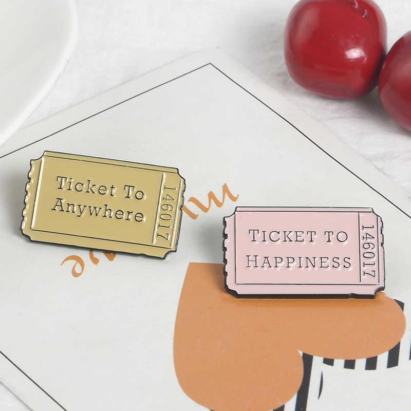 Qihe Perhiasan Tiket Pin Pink Kuning Tiket Ke Mana Saja Tiket Pesawat Kebahagiaan Tiket Lencana Hadiah untuk Pecinta Perjalanan Beruntung Lencana