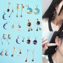 Sale New Creative Korean new star Universe Earrings For Women simple moon dream ear hook Tassel Gifts