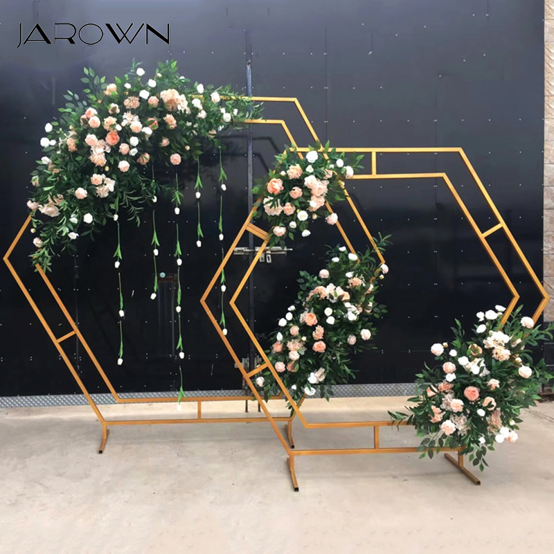 Us 238 56 29 Off Jarown Wrought Iron Hexagonal Arch Frame Wedding Stage Background Flower Decoration Home Party Screen Decor In Artificial Dried
