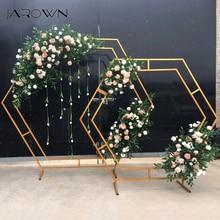 JAROWN יצוק ברזל משושה קשת מסגרת חתונה שלב רקע פרח קישוט בית מסיבת מסך דקור