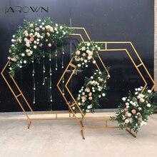 Jarown 鍛造鉄六角形のアーチフレーム結婚式の舞台背景花の装飾ホームパーティースクリーン装飾