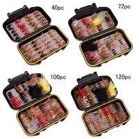 40/72/100/120pcs/Set Wet Dry Nymph Fly Fishing Lure Box Set Flies Material Bait False Flies for Trout Grayling Panfish
