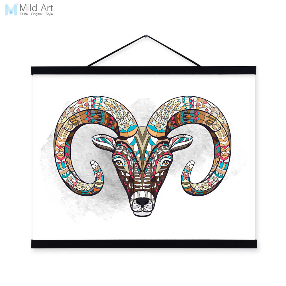 Modern Ancient <font><b>African</b></font> National Totem Animals Goat Head A4 Framed Canvas Painting Wall Art Prints Picture Poster <font><b>Home</b></font> <font><b>Decoration</b></font>