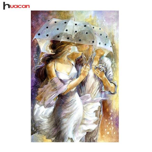 СДЕЛАЙ САМ Алмаз Живопись Пара в Дождь Pattern Home Decor Полный Квадрат Горный Хрусталь Алмаз Вышивка Наборы мозаики